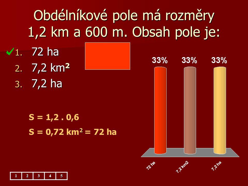 Obdélníkové pole má rozměry 1,2 km a 600 m. Obsah pole je: 1. 72 ha 2. 7,2 km 2 3. 7,2 ha S = 1,2. 0,6 2 S = 0,72 km 2 = 72 ha12345