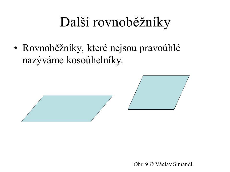 Další rovnoběžníky Rovnoběžníky, které nejsou pravoúhlé nazýváme kosoúhelníky.