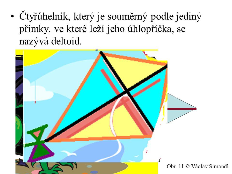 Čtyřúhelník, který je souměrný podle jediný přímky, ve které leží jeho úhlopříčka, se nazývá deltoid.