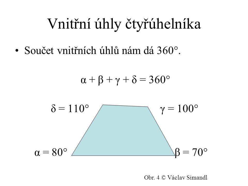 Vnitřní úhly čtyřúhelníka Součet vnitřních úhlů nám dá 360°.