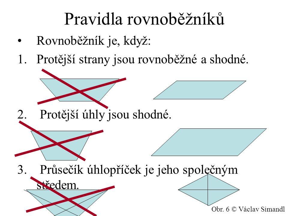 Pravidla rovnoběžníků Rovnoběžník je, když: 1.Protější strany jsou rovnoběžné a shodné.