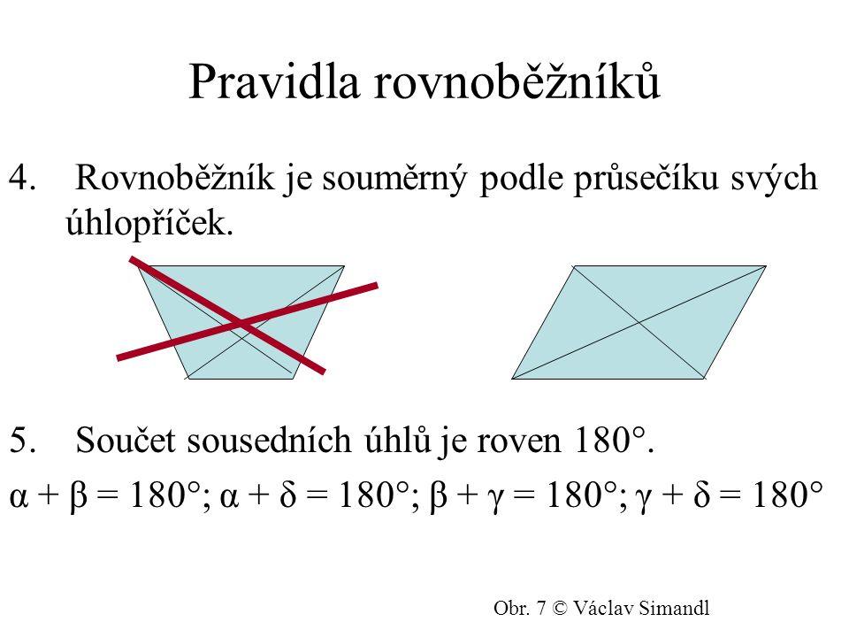Čtverec a obdélník Patří mezi čtyřúhelníky, rovnoběžníky a navíc každé dvě sousední strany jsou navzájem kolmé = jejich vnitřní úhly jsou pravé.