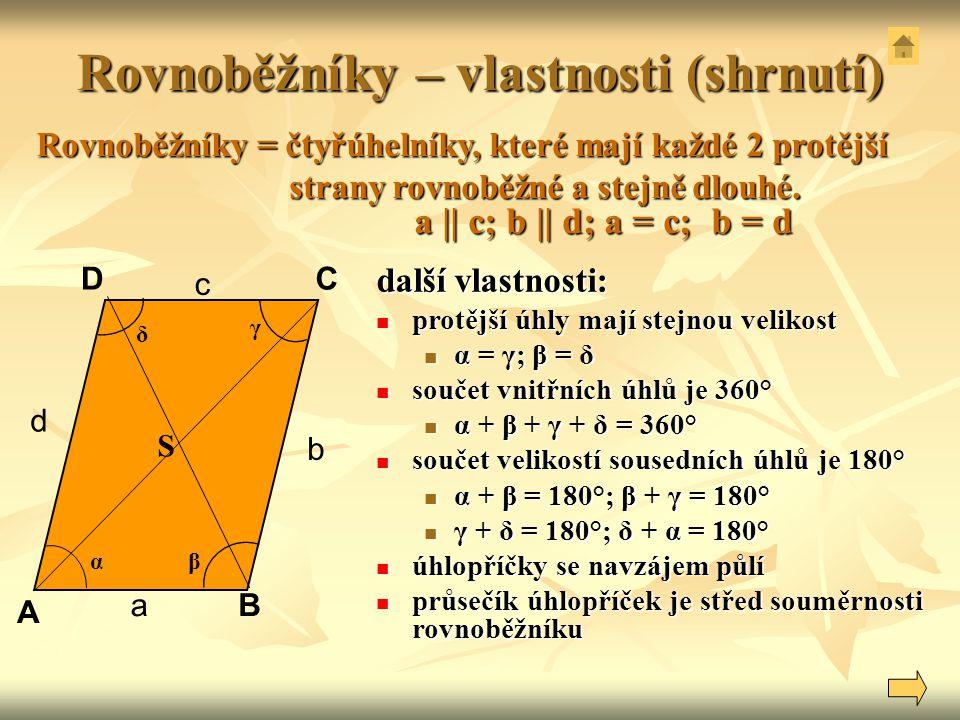 Rovnoběžníky – vlastnosti (shrnutí) a || c; b || d; a = c; b = d A B DC α δ β a b d Rovnoběžníky = čtyřúhelníky, které mají každé 2 protější strany ro