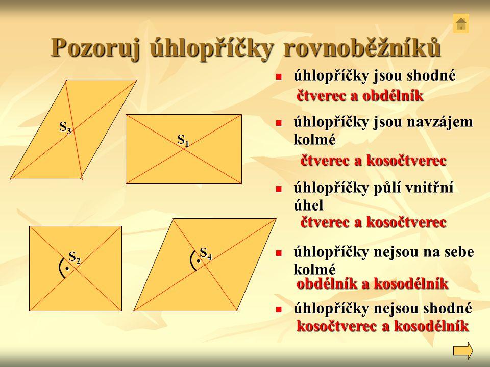 Pozoruj úhlopříčky rovnoběžníků S3S3S3S3 S2S2S2S2 S1S1S1S1 S4S4S4S4.. úhlopříčky jsou shodné úhlopříčky jsou shodné úhlopříčky jsou navzájem kolmé úhl