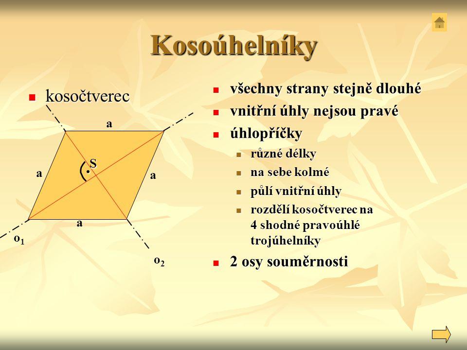 Kosoúhelníky kosočtverec kosočtverec všechny strany stejně dlouhé všechny strany stejně dlouhé vnitřní úhly nejsou pravé vnitřní úhly nejsou pravé úhl