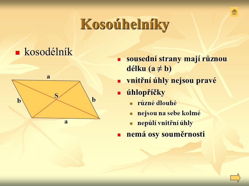 Kosoúhelníky kosodélník kosodélník sousední strany mají různou délku (a ≠ b) sousední strany mají různou délku (a ≠ b) vnitřní úhly nejsou pravé vnitř
