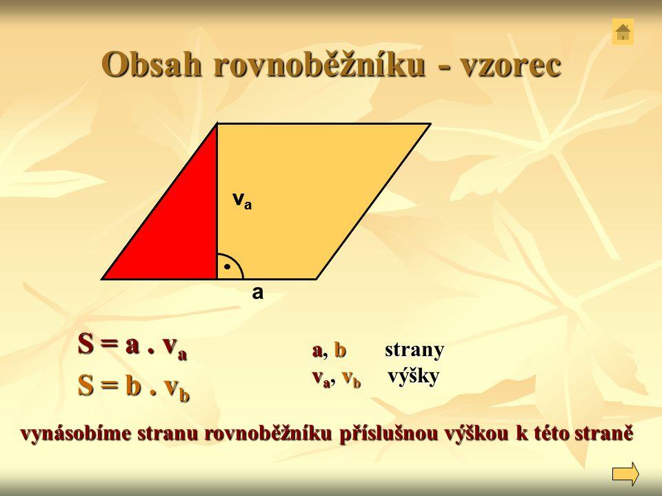 Obsah rovnoběžníku - vzorec a S = a. v a S = b. v b vynásobíme stranu rovnoběžníku příslušnou výškou k této straně a, b strany v a, v b výšky vava vav