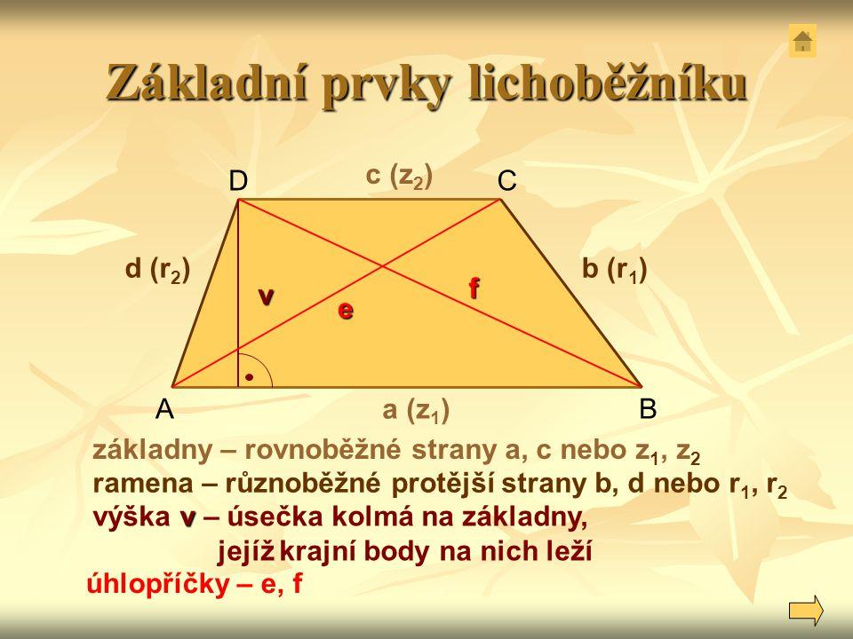 Základní prvky lichoběžníku a (z 1 ) c (z 2 ) b (r 1 )d (r 2 ) v AB CD základny – rovnoběžné strany a, c nebo z 1, z 2 ramena – různoběžné protější st