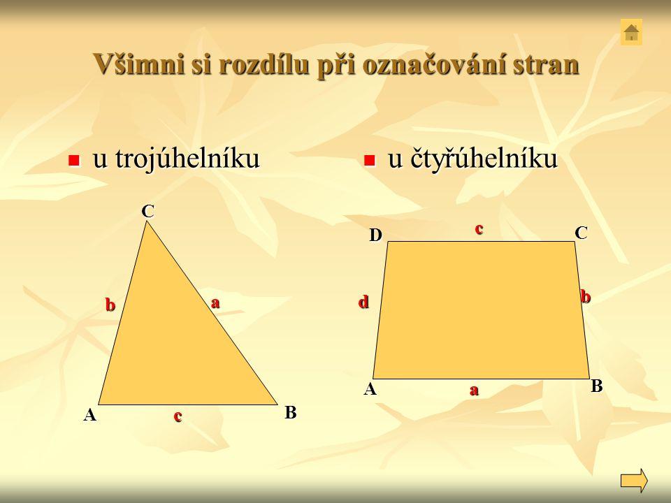 Všimni si rozdílu při označování stran u trojúhelníku u trojúhelníku u čtyřúhelníku u čtyřúhelníku c ACB A D BCa a b d b c