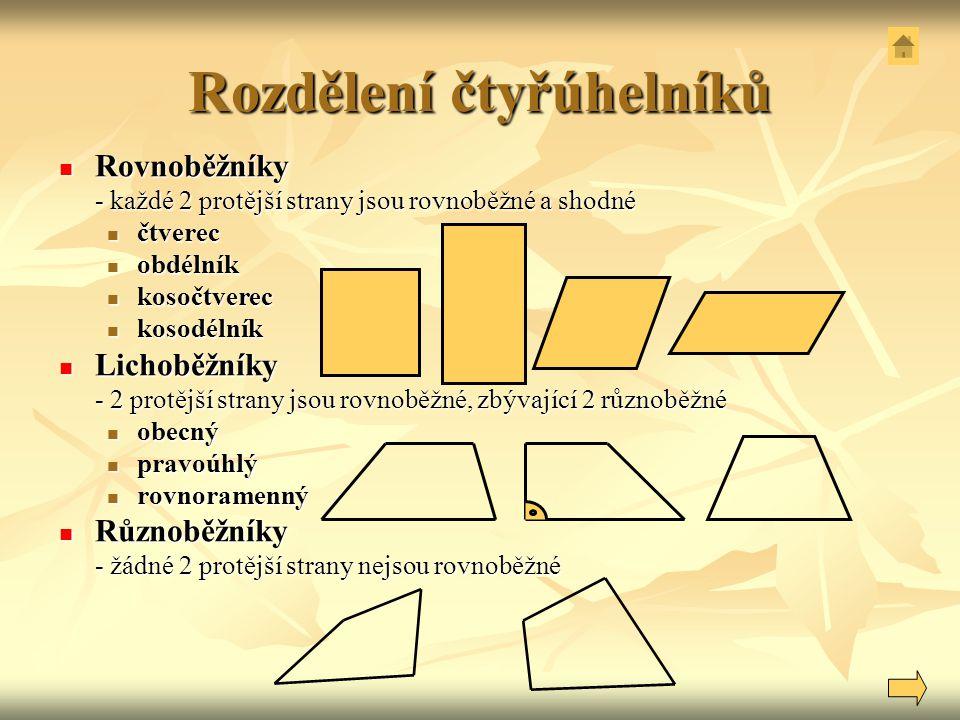 Rozdělení čtyřúhelníků Rovnoběžníky Rovnoběžníky - každé 2 protější strany jsou rovnoběžné a shodné čtverec čtverec obdélník obdélník kosočtverec koso