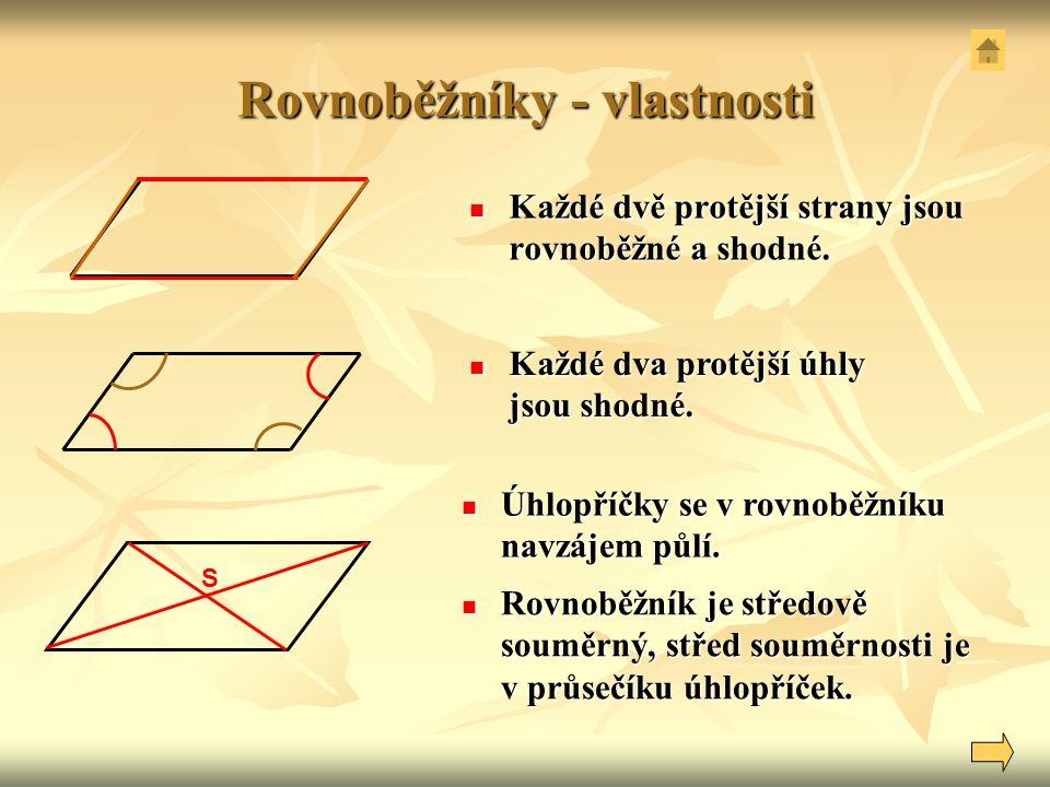 Rovnoběžníky - vlastnosti Každé dvě protější strany jsou rovnoběžné a shodné. Každé dvě protější strany jsou rovnoběžné a shodné. Každé dva protější ú