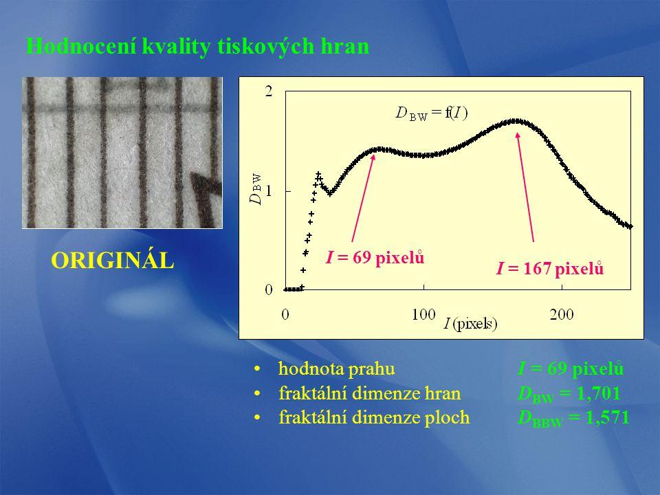 ORIGINÁL hodnota prahuI = 69 pixelů fraktální dimenze hranD BW = 1,701 fraktální dimenze plochD BBW = 1,571 I = 69 pixelů I = 167 pixelů Hodnocení kvality tiskových hran