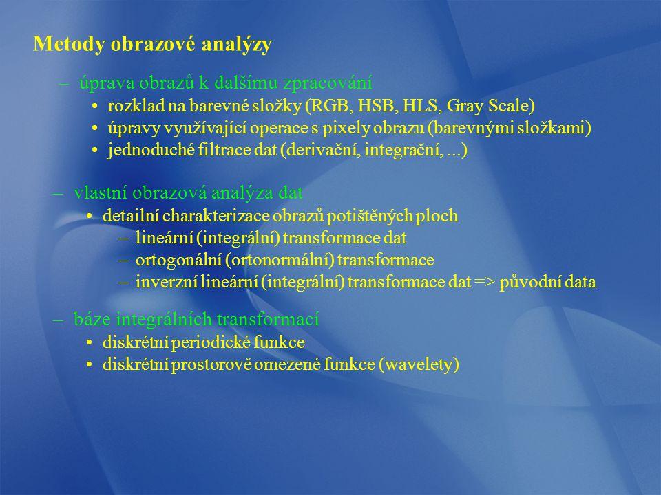 Metody obrazové analýzy –úprava obrazů k dalšímu zpracování rozklad na barevné složky (RGB, HSB, HLS, Gray Scale) úpravy využívající operace s pixely obrazu (barevnými složkami) jednoduché filtrace dat (derivační, integrační,...) –vlastní obrazová analýza dat detailní charakterizace obrazů potištěných ploch –lineární (integrální) transformace dat –ortogonální (ortonormální) transformace –inverzní lineární (integrální) transformace dat => původní data –báze integrálních transformací diskrétní periodické funkce diskrétní prostorově omezené funkce (wavelety)