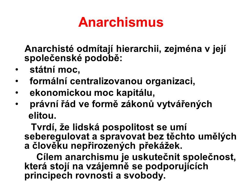 Anarchismus Anarchisté odmítají hierarchii, zejména v její společenské podobě: státní moc, formální centralizovanou organizaci, ekonomickou moc kapitá