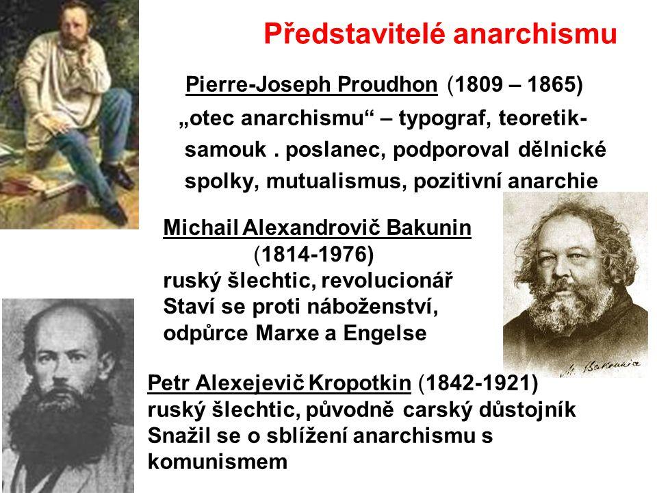 """Představitelé anarchismu Pierre-Joseph Proudhon (1809 – 1865) """"otec anarchismu"""" – typograf, teoretik- samouk. poslanec, podporoval dělnické spolky, mu"""