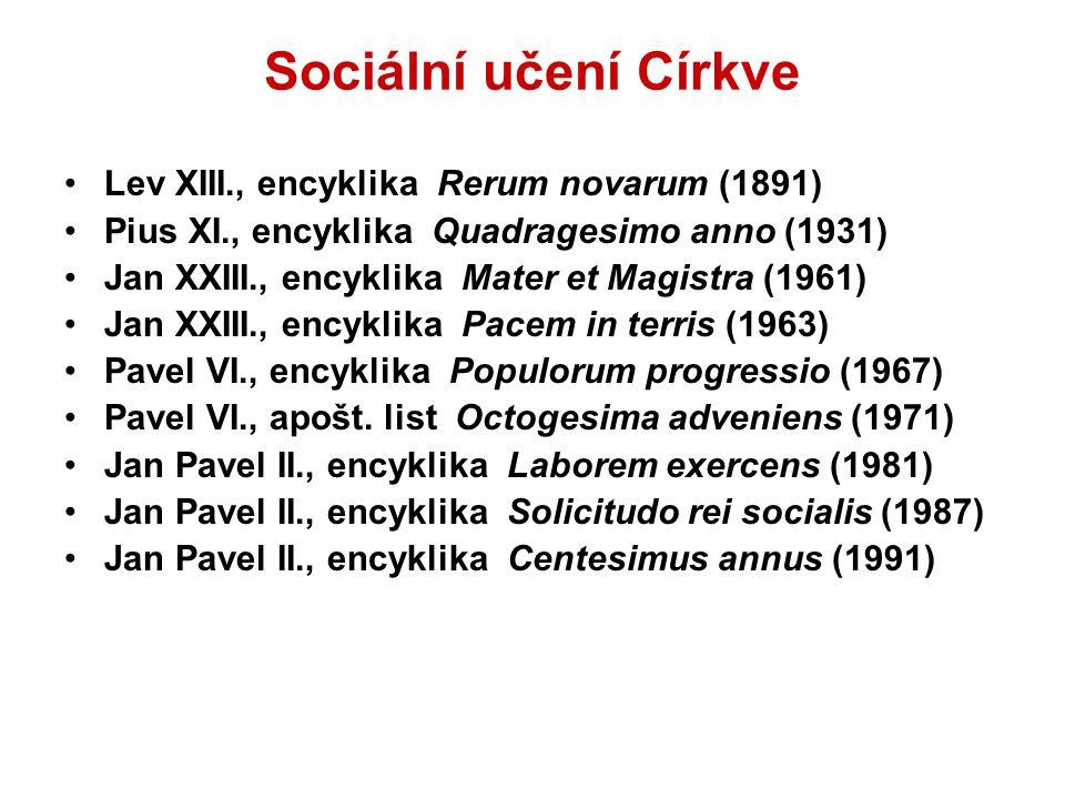 Sociální učení Církve Lev XIII., encyklika Rerum novarum (1891) Pius XI., encyklika Quadragesimo anno (1931) Jan XXIII., encyklika Mater et Magistra (