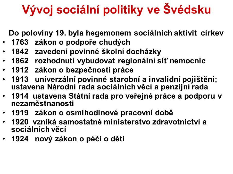 Vývoj sociální politiky ve Švédsku Do poloviny 19. byla hegemonem sociálních aktivit církev 1763 zákon o podpoře chudých 1842 zavedení povinné školní