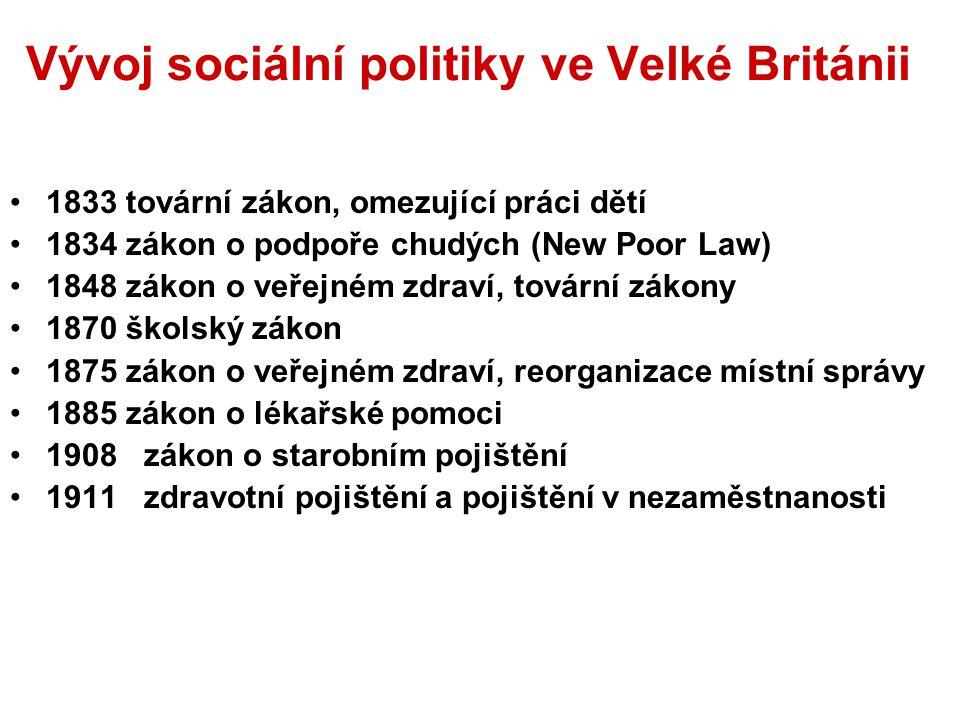 Vývoj sociální politiky ve Velké Británii 1833 tovární zákon, omezující práci dětí 1834 zákon o podpoře chudých (New Poor Law) 1848 zákon o veřejném z