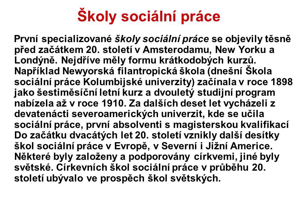 Školy sociální práce První specializované školy sociální práce se objevily těsně před začátkem 20. století v Amsterodamu, New Yorku a Londýně. Nejdřív