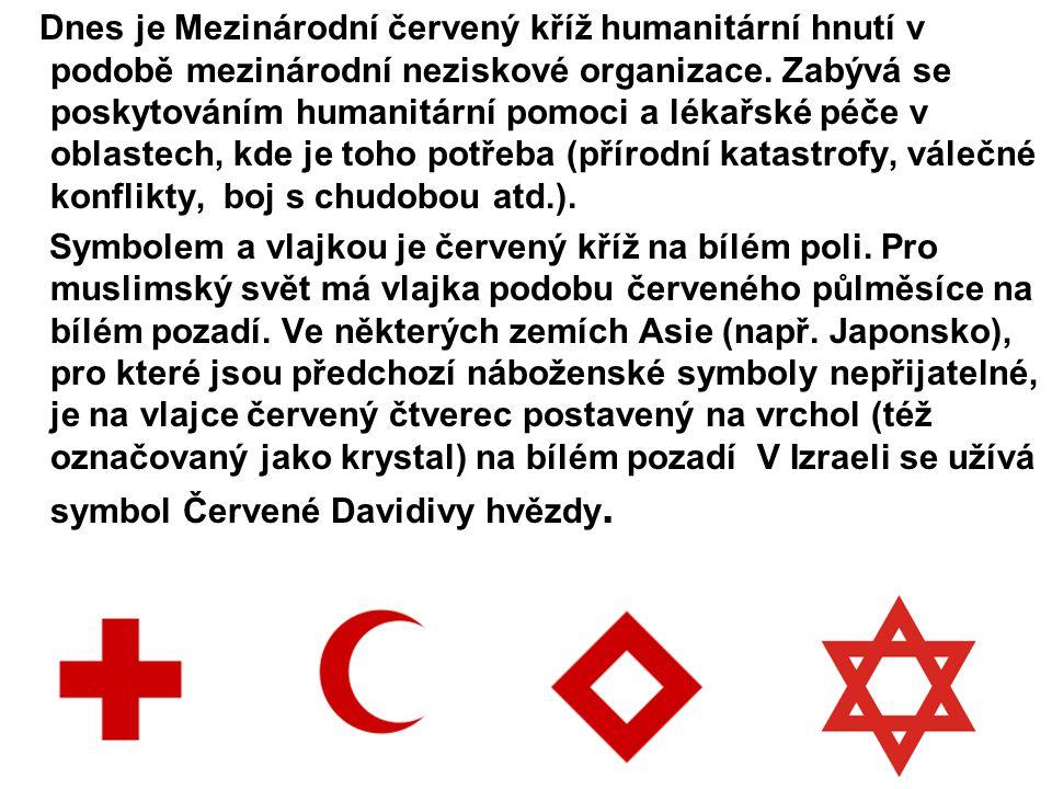 Dnes je Mezinárodní červený kříž humanitární hnutí v podobě mezinárodní neziskové organizace. Zabývá se poskytováním humanitární pomoci a lékařské péč