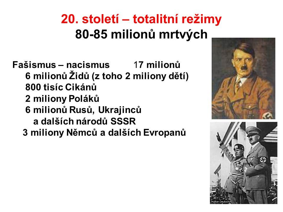 20. století – totalitní režimy 80-85 milionů mrtvých Fašismus – nacismus 17 milionů 6 milionů Židů (z toho 2 miliony dětí) 800 tisíc Cikánů 2 miliony