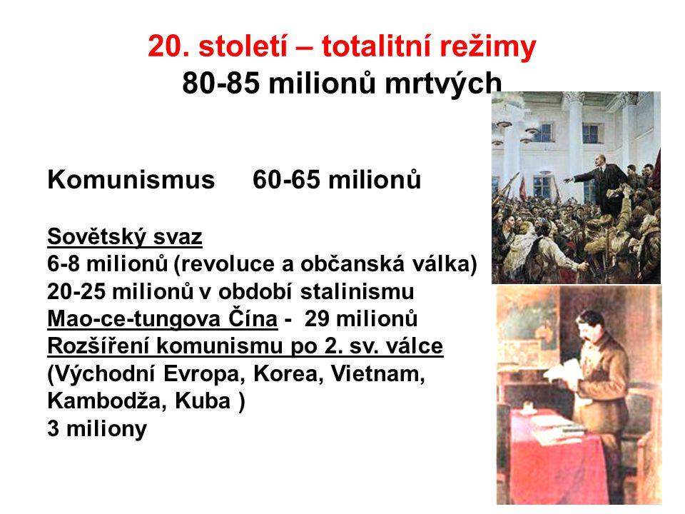 20. století – totalitní režimy 80-85 milionů mrtvých Komunismus 60-65 milionů Sovětský svaz 6-8 milionů (revoluce a občanská válka) 20-25 milionů v ob