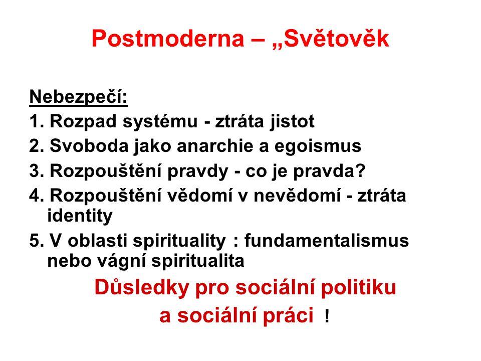"""Postmoderna – """"Světověk Nebezpečí: 1. Rozpad systému - ztráta jistot 2. Svoboda jako anarchie a egoismus 3. Rozpouštění pravdy - co je pravda? 4. Rozp"""