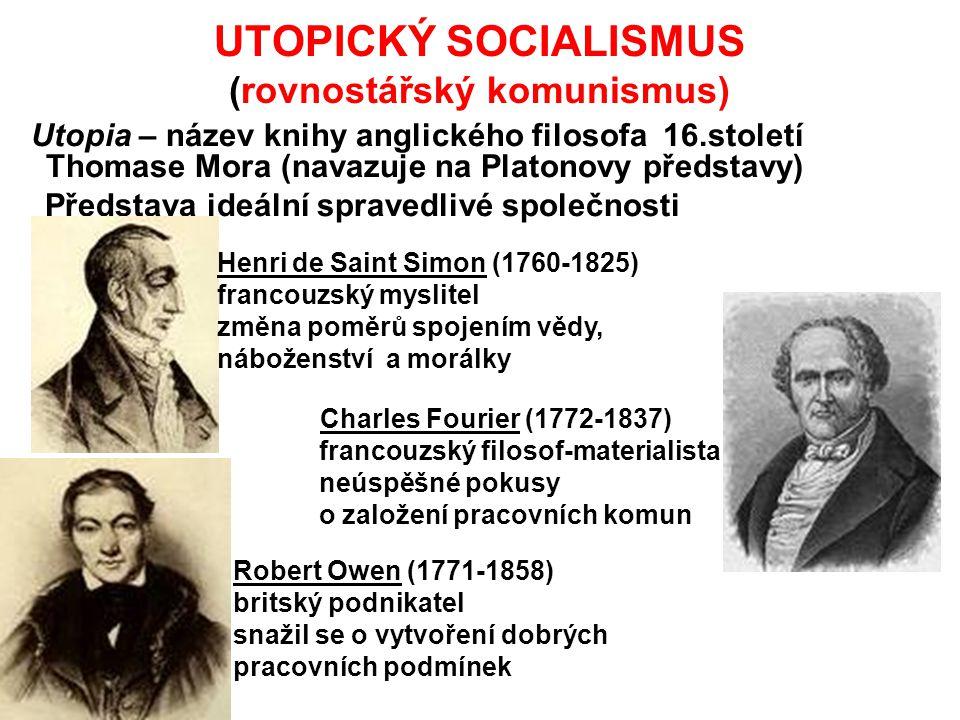 UTOPICKÝ SOCIALISMUS (rovnostářský komunismus) Utopia – název knihy anglického filosofa 16.století Thomase Mora (navazuje na Platonovy představy) Před