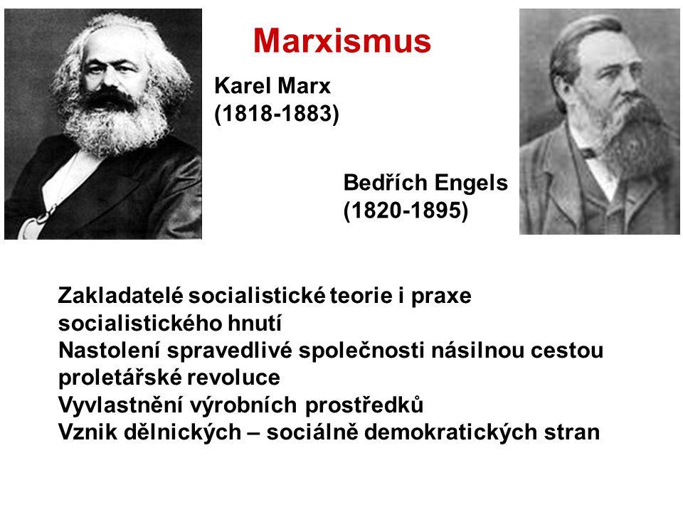 Marxismus Karel Marx (1818-1883) Bedřích Engels (1820-1895) Zakladatelé socialistické teorie i praxe socialistického hnutí Nastolení spravedlivé spole