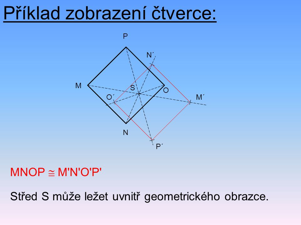 MNOP  M N O P Střed S může ležet uvnitř geometrického obrazce.