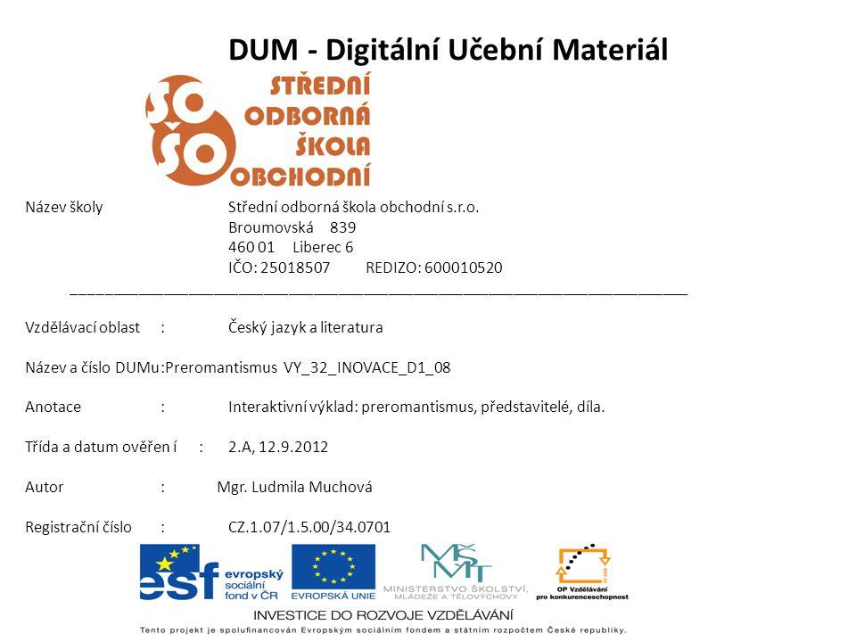 DUM - Digitální Učební Materiál Název školyStřední odborná škola obchodní s.r.o.