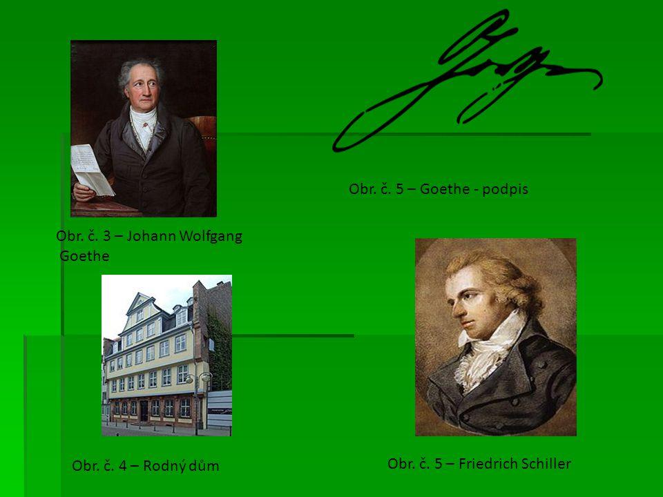 Obr.č. 3 – Johann Wolfgang Goethe Obr. č. 4 – Rodný dům Obr.