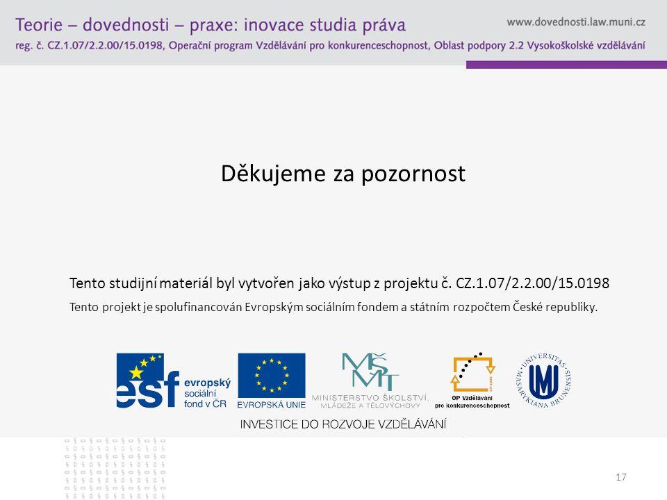 17 Děkujeme za pozornost Tento studijní materiál byl vytvořen jako výstup z projektu č. CZ.1.07/2.2.00/15.0198 Tento projekt je spolufinancován Evrops