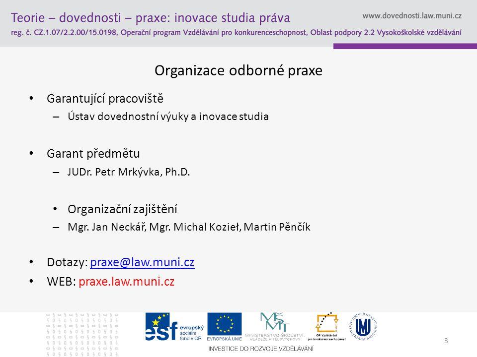 3 Organizace odborné praxe Garantující pracoviště – Ústav dovednostní výuky a inovace studia Garant předmětu – JUDr. Petr Mrkývka, Ph.D. Organizační z