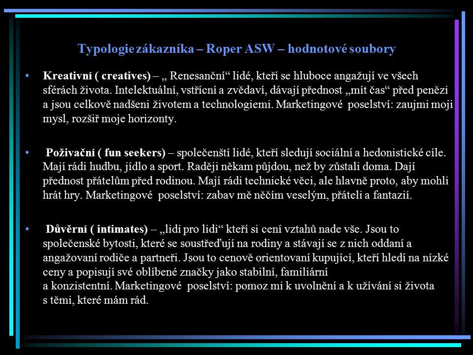 """Typologie zákazníka – Roper ASW – hodnotové soubory Kreativní ( creatives) – """" Renesanční"""" lidé, kteří se hluboce angažují ve všech sférách života. In"""