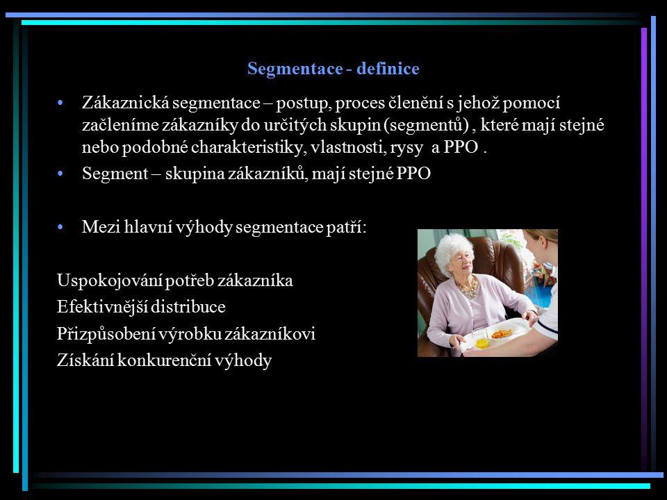 Segmentace - definice Zákaznická segmentace – postup, proces členění s jehož pomocí začleníme zákazníky do určitých skupin (segmentů), které mají stej