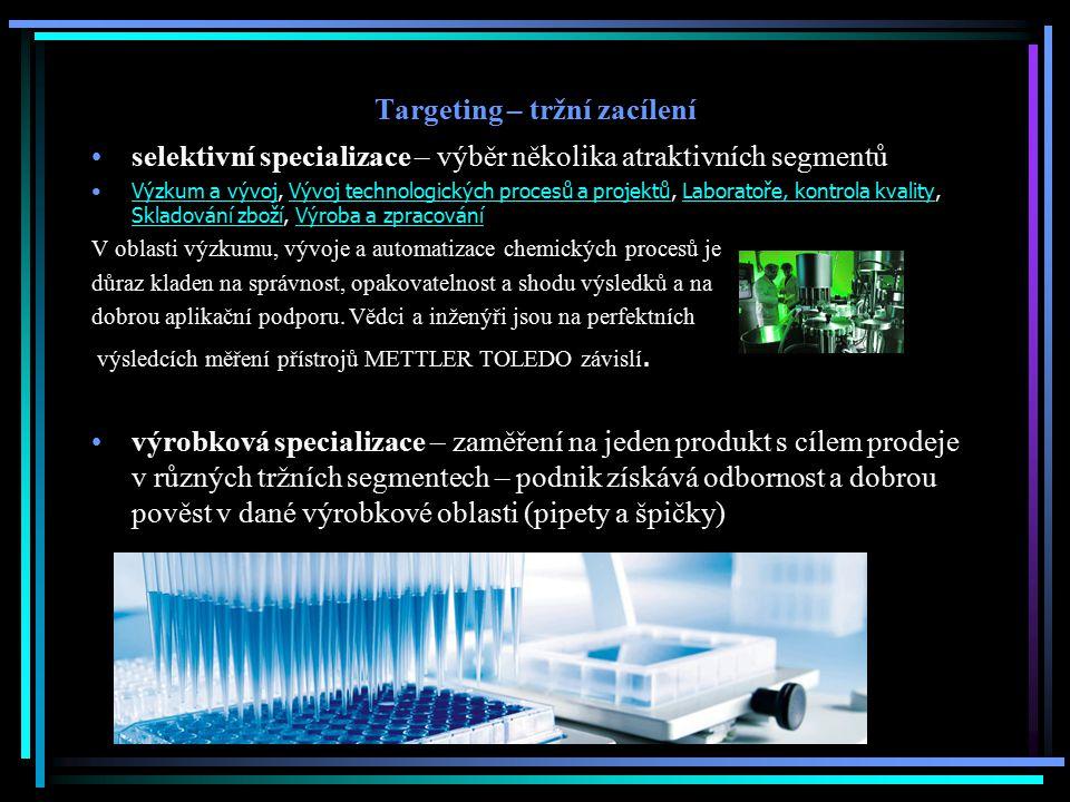 Targeting – tržní zacílení selektivní specializace – výběr několika atraktivních segmentů Výzkum a vývoj, Vývoj technologických procesů a projektů, La