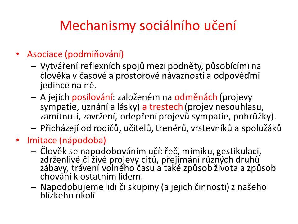 Mechanismy sociálního učení Asociace (podmiňování) – Vytváření reflexních spojů mezi podněty, působícími na člověka v časové a prostorové návaznosti a odpověďmi jedince na ně.