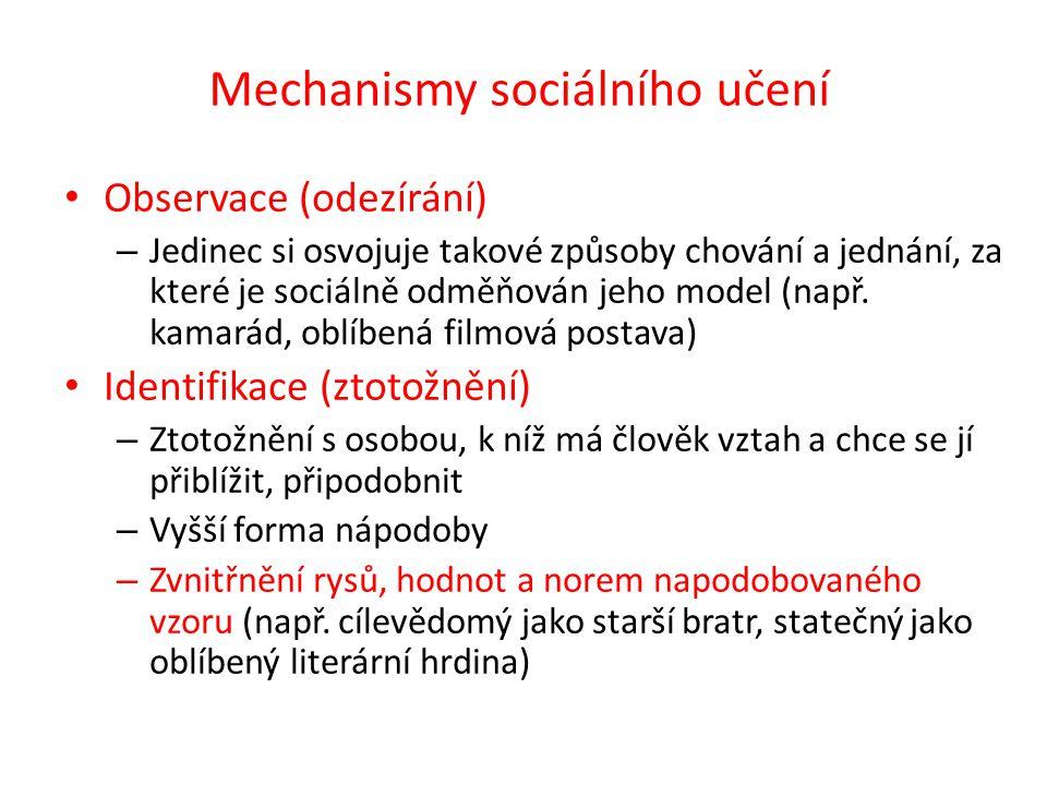 Observace (odezírání) – Jedinec si osvojuje takové způsoby chování a jednání, za které je sociálně odměňován jeho model (např.