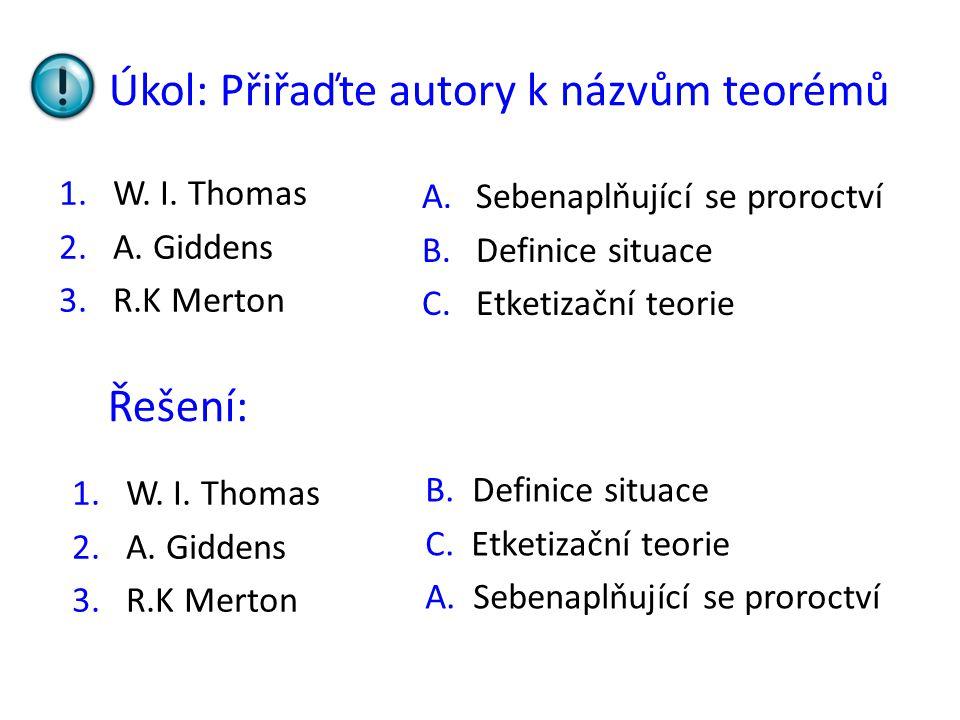 Úkol: Přiřaďte autory k názvům teorémů 1.W.I. Thomas 2.A.