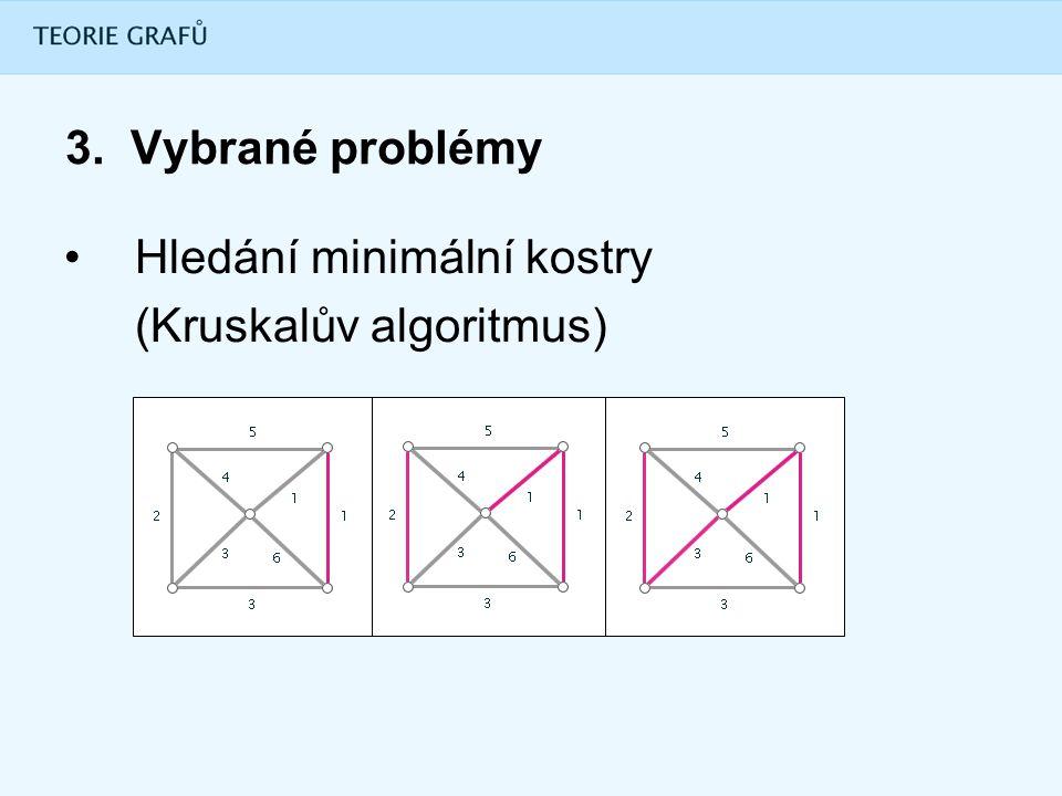 3. Vybrané problémy Hledání minimální kostry (Kruskalův algoritmus)
