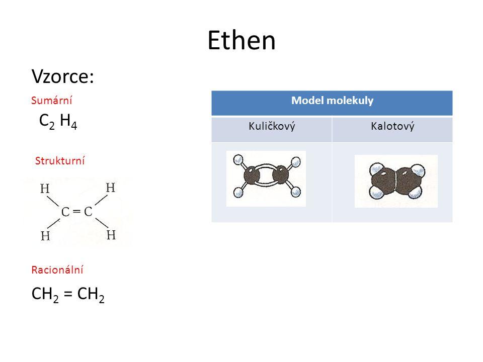 Ethen (ethylen) Bezbarvý, hořlavý plyn, nasládlé vůně Se vzduchem tvoří výbušnou směs Jeho přítomnost urychluje dozrávání ovoce Využití: K dozrávání ovoce (banánů) K výrobě: polyethylenu, ethanolu, vinylchloridu