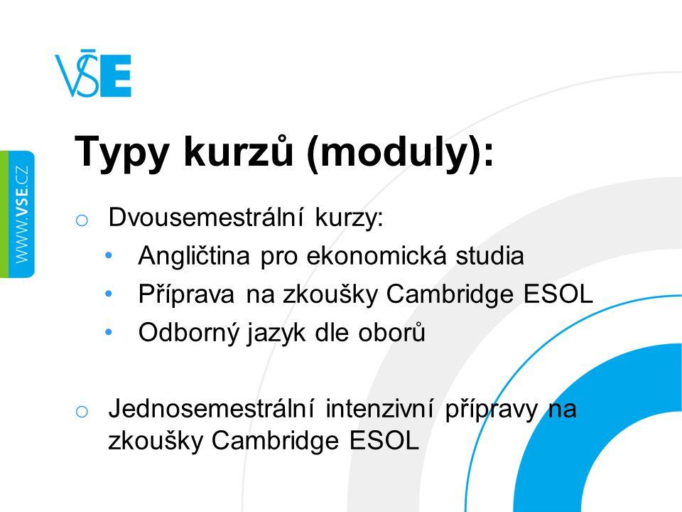 Typy kurzů (moduly): o Dvousemestrální kurzy: Angličtina pro ekonomická studia Příprava na zkoušky Cambridge ESOL Odborný jazyk dle oborů o Jednosemestrální intenzivní přípravy na zkoušky Cambridge ESOL