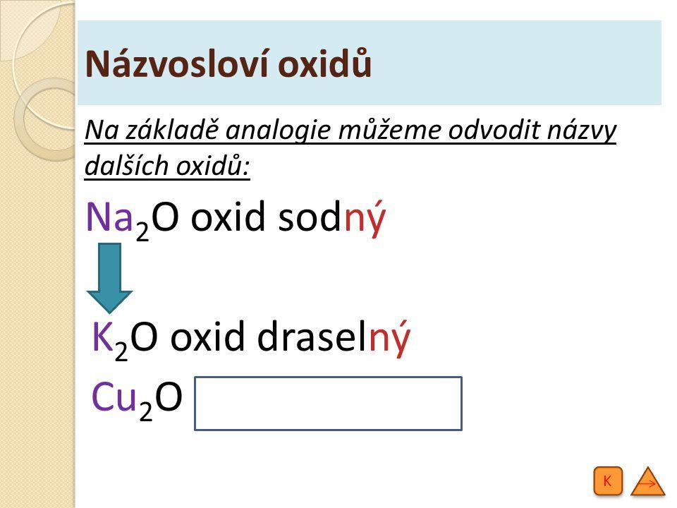 Názvosloví oxidů Na základě analogie můžeme odvodit názvy dalších oxidů: Na 2 O oxid sodný K 2 O oxid draselný Cu 2 O oxid měďný K K