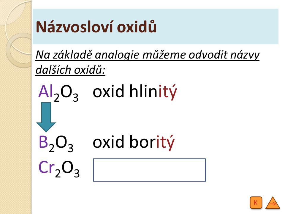 Názvosloví oxidů Na základě analogie můžeme odvodit názvy dalších oxidů: Al 2 O 3 oxid hlinitý B 2 O 3 oxid boritý Cr 2 O 3 oxid chromitý K K
