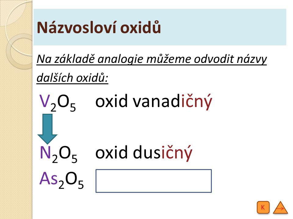 Názvosloví oxidů Na základě analogie můžeme odvodit názvy dalších oxidů: V2O5V2O5 oxid vanadičný N2O5N2O5 oxid dusičný As 2 O 5 oxid arseničný K K