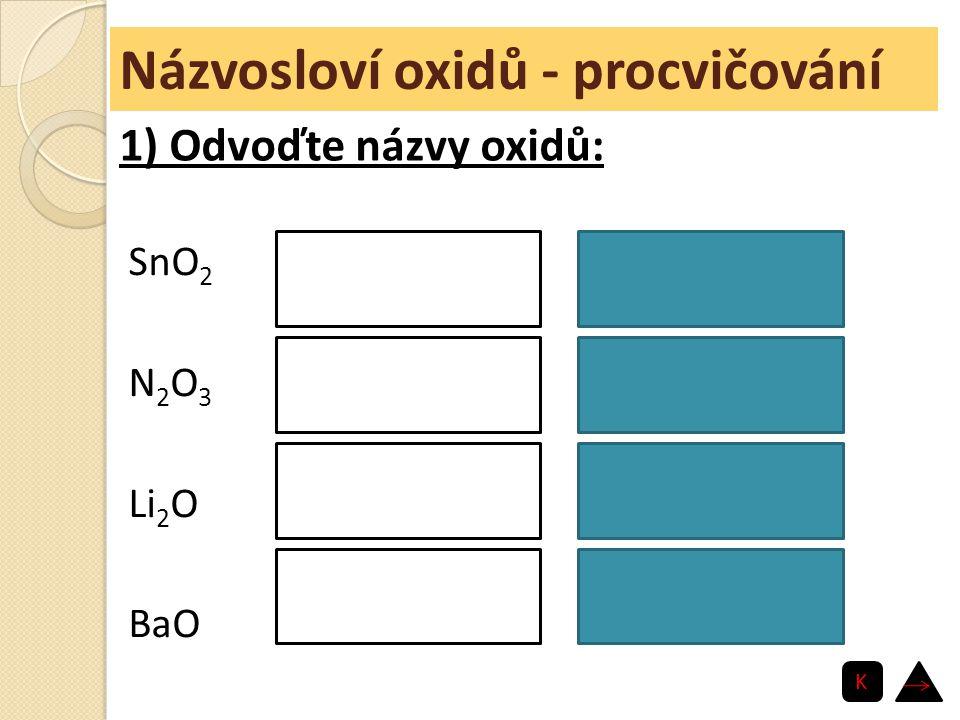 Názvosloví oxidů - procvičování SnO 2 N 2 O 3 Li 2 O BaO oxid cíničitý oxid dusitý oxid lithný oxid barnatý 1) Odvoďte názvy oxidů: K