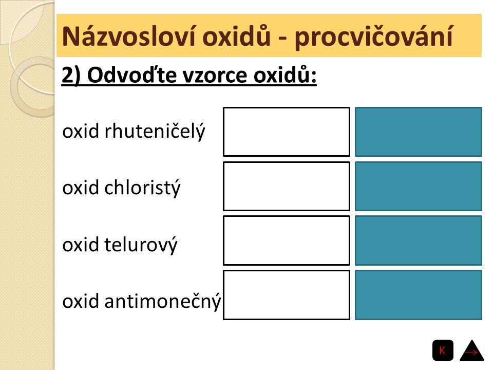 Názvosloví oxidů - procvičování oxid rhuteničelý oxid chloristý oxid telurový oxid antimonečný RuO 4 Cl 2 O 7 TeO 3 Sb 2 O 5 2) Odvoďte vzorce oxidů: K