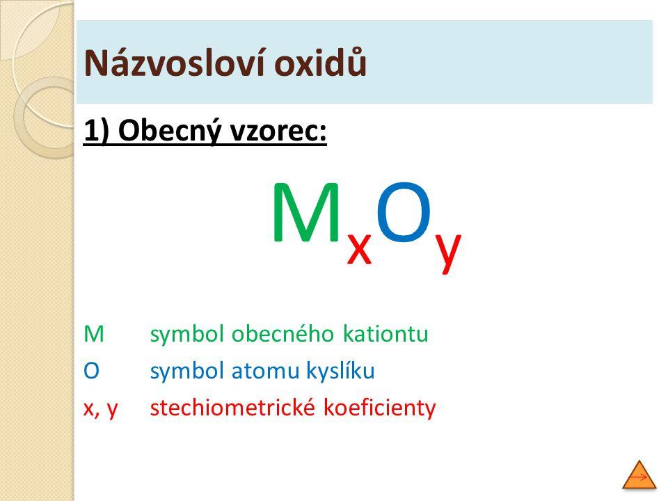 1) Obecný vzorec: M x O y Msymbol obecného kationtu Osymbol atomu kyslíku x, ystechiometrické koeficienty