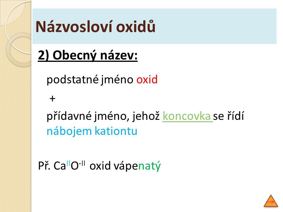 Názvosloví oxidů Na základě analogie můžeme odvodit názvy dalších oxidů: SO 3 oxid sírový SeO 3 oxid selenový TeO 3 oxid telurový K K